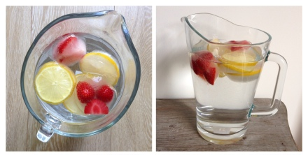 Lemon and strawberry ice cubes